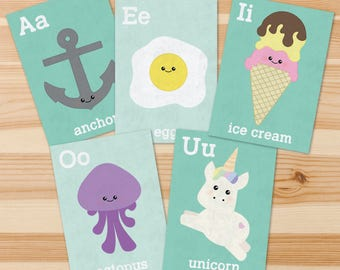 Alphabet flash card, Vowel flash cards, Alphabet letters for wall, Mint nursery decor, Alphabet wall cards, letters for wall