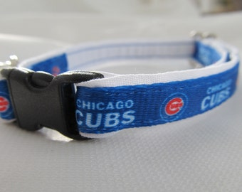 Chicago Cubs Cat  or Small Dog Collar with White or Pink Backing