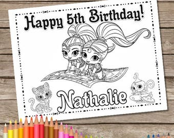 Shimmer and Shine Digital Birthday Coloring Pages, 6 Shimmer and Shine Printable Coloring Pages
