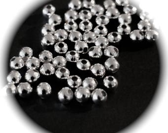 300 beads smooth round silver plated 2 mm in diameter