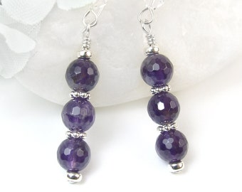 Amethyst Earrings, Purple Gemstone Earrings, Amethyst Silver Dangles, Faceted Purple Amethyst Earrings, Wedding Jewelry Prom Bridal Dressy