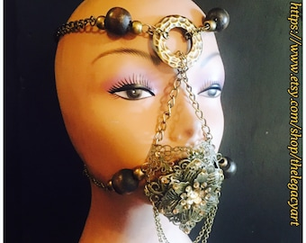 Beaded face circlet,face piece,mask,chain mask,chain face piece,tribal style mask,beaded mask,chained mask,brass color chains,wooden beads.