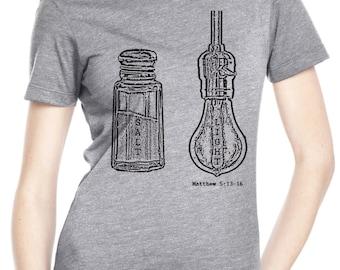 womens shirts - Christian shirts - Christian t shirts - Bible shirt - Bible verse - Christian gifts - Jesus shirt -SALT AND LIGHT -crew neck