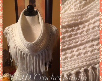 Crocheted Fringed Cowl