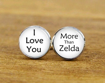 i love you more than  cufflinks, game fans, custom any text, groom cufflinks, round glass, square cufflink, tie clip or a matching set