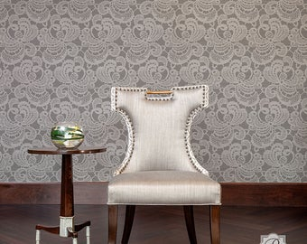 Lace Wall Stencil for Painting a Vintage, Victorian, Farmhouse Damask Wallpaper Look - Size Small