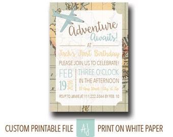 Child's Birthday Invitation in Travel Theme-First Birthday Party Invite- Printable File-Travel Themed Birthday