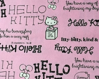 Hello kitty  printed fabric pink colour  Half yard