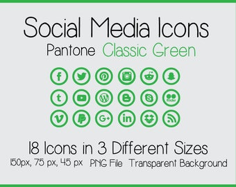 Social Media Icons - Pantone Classic Green