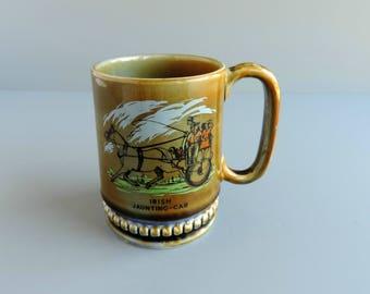 Vintage Wade Porcelain Mug | Irish Jaunting Car | Horse and Carriage | Made in Ireland