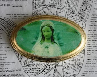 Original, Miniature, Art, Emerald, Green, Mary, Oval, Wood, Icon, Gold