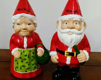 Personalised Ceramic Indoor Christmas Gnome Unique Gift Quirky Gift Personalized Gnome Santa Gnome Mrs Claus Father Christmas