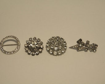 "Set of 4 Vintage Rhinestone Pins 1"""