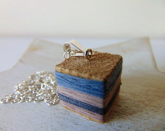 Cube necklace - wooden cube - reclaimed wood - wooden necklace - handmade jewelry - vintage upcycled - solid silver - vintage necklace