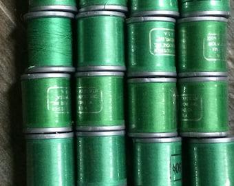 22 Green Thread / Vintage Green Thread Lot / Green Thread Lot / Thread Lot / Green Polyester Thread Lot
