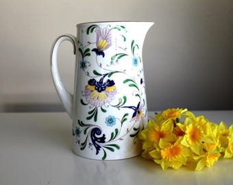 vintage Coalport pitcher Pageant pattern 40 oz, made in England, cottage decor, cottage chic