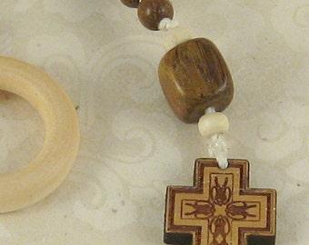 Mariner - natural wood and bamboo cord Irish Penal Rosary
