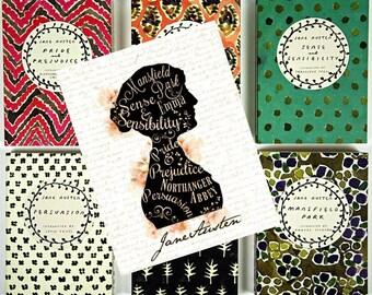 Watercolor Jane Austen's Works Silhouette