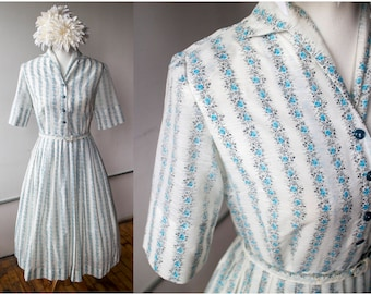 Vintage 1950s/1960s Floral Striped Button-up Fit and Flare Short Sleeve Belted Dress - Size L -
