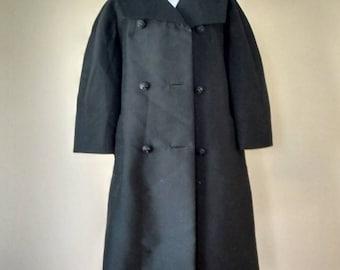"M / Opera Coat ""Studio/Young Internationals"" Black Knee Length From The 60s / Medium"