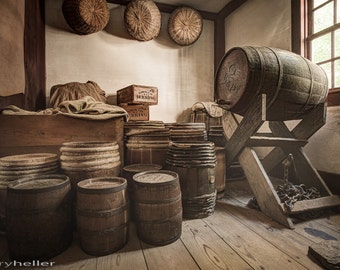 Barrels by the Window, Old Rustic Photograph, General Store, Signed fine Art Photography Print