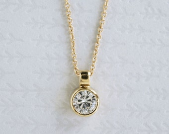 14k Gold Moissanite Necklace   5mm Moissanite Solitaire Pendant   gift fot her   rose gold white gold recycled gold   Ships fast