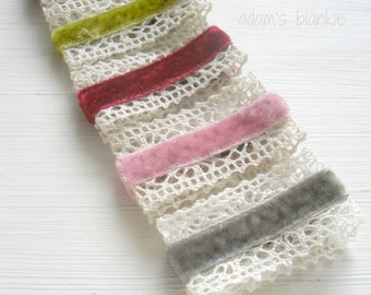 Vintage Style Couture Hair Clips - Velvet and Lace - Alligator - Set of 3 - You Choose Colors - Infant Baby Girls Adults