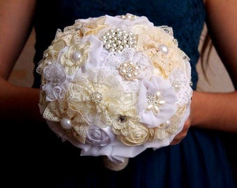 Brooch bouquet, champagne brooch bouquet. Wedding set. White brooch bouquet. Fabric bouquet, handmade