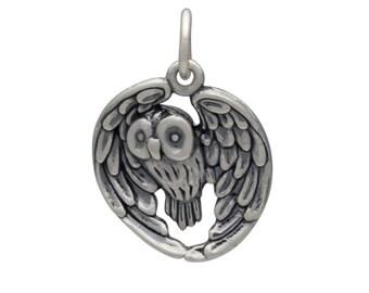 Silver Owl Charm - Owl Charm - Owl Jewelry - Owl Necklace