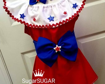 Girls Red White Blue Pageant Casual Wear Outfit of Choice Patriotic