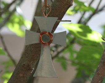 Handcrafted Cross, Metal  Cross, Wall Hanging Cross, Iron and Copper Cross, Home Decor
