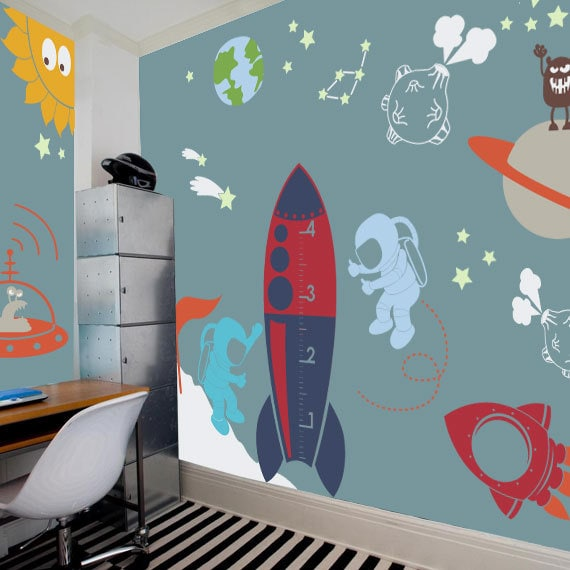 Outer space playroom decal for kids nursery wall decal for Outer space decor for nursery