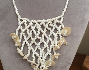 Mother of pearl seed bead wedding summer bib necklace