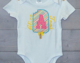 Personalized Popsicle Initial Applique Shirt or Bodysuit Girl