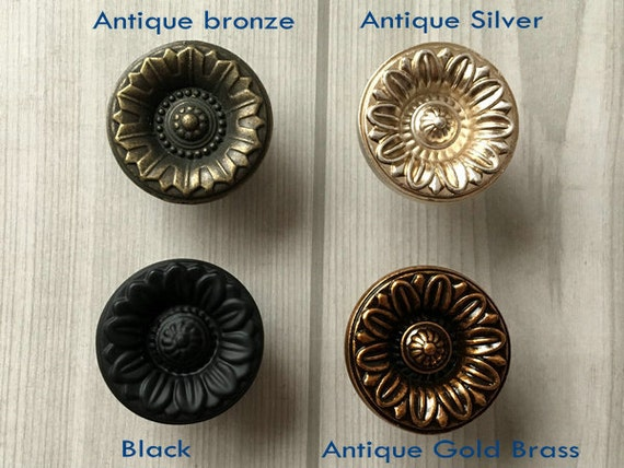 Dresser Knobs Drawer Pulls Knobs Handles Flower Antique Bronze Brass Silver  Black Kitchen Cabinet Door Pull Handle Furniture Knob Hardware from ... - Dresser Knobs Drawer Pulls Knobs Handles Flower Antique Bronze Brass