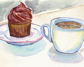 Cupcake and Coffee Watercolor Painting - Still Life Illustration Chocolate Cupcake and Coffee Watercolor Art Print, 8x10