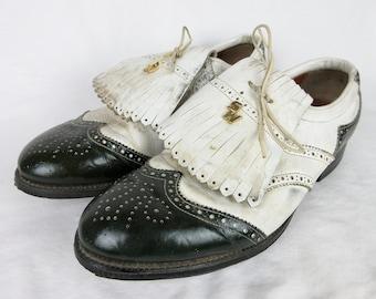 Jahrgang 1960 Mens Golf Schuhe / schwarz und weiß Zuschauer Leder / Kilties Kiltie Quasten / Stahl Stollen / Sport Spaziergang, SportsWalk Sz 10