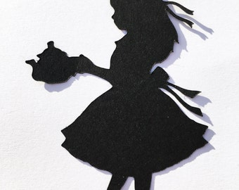 Alice in wonderland die cut , sets of five great for card making , embellishments or scrapbooking
