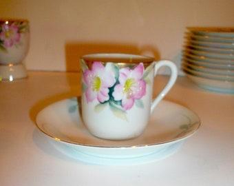 Noritake China Azalea Pattern Porcelain Demitasse Cups Saucers Japan Set of Six by VintageReinvented