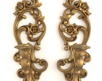 Hollywood Regency Gold Sconces Ornate Floral Scroll Candle Holders Romantic Decor