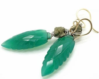 Green onyx dangle earrings with pyrite, Onyx earrings, Pyrite earrings, Green gold earrings