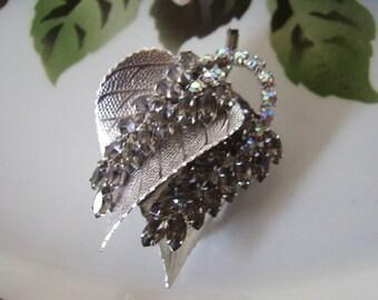 Vintage Silvery Gray Rhinestone Double Leaf Brooch Pin
