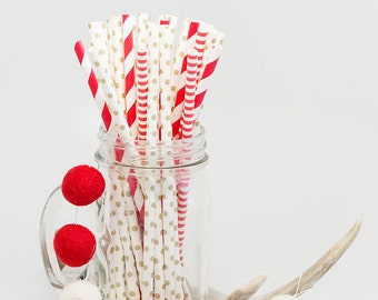 Candy Lane Paper Straws - Red and Gold Straws - Gold Straws - Red Stripe Straws -Valentines Day Decor - Christmas Straws - Red Wedding *GOLD