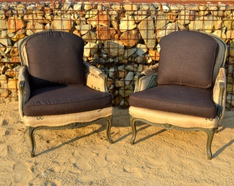 Custom French Style Bergere Arm Accent Living Room Chairs with Linen and Coffee Jute Burlap Sack