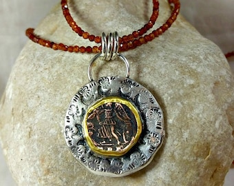 Ancient Coin Pendant , Silver, 22 kt gold, gemstone and authentic Roman coin necklace, Angel coin necklace, ancient coin jewelry