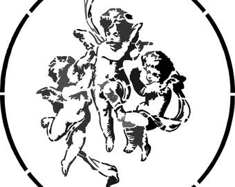 """Trio of Angels"" stencil for a decoration charm"