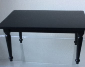 "Dollhouse Miniature 1"" Scale Black Table (AT)"