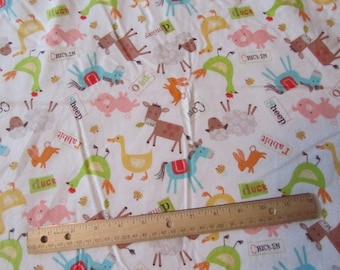 White with Farm Animals Toss Flannel Fabric by the Yard