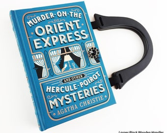 Murder On The Orient Express Book Purse - Agatha Christie Book Bag - Hercule Poirot Book Cover Bag - Literary Gift - Mystery Reader Gift