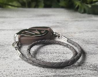 Gray Wrap Leather Bolo Bracelet - Bellabeat Leaf